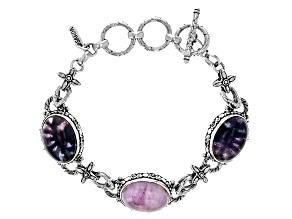 Pink Kunzite And Banded Fluorite Sterling Silver Bracelet
