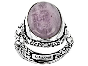 Pink Kunzite Silver Solitaire Ring
