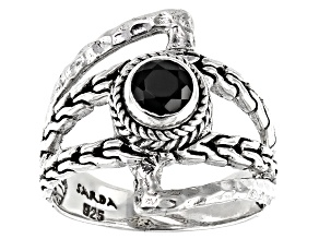 Black Spinel Sterling Silver Ring .57ct