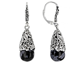 Black Snowflake Obsidian Sterling Silver Earrings