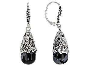 Black Snowflake Obsidian Sterling Silver Earrings
