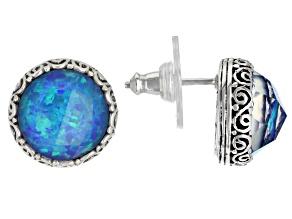 Twilight Opal Doublet Sterling Silver Stud Earrings 7.38ctw