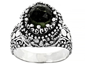 Green Moldavite Sterling Silver Solitaire Ring