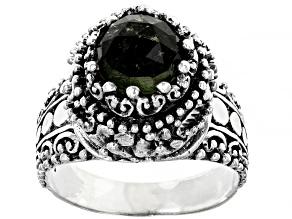 Green Moldavite Sterling Silver Solitaire Ring