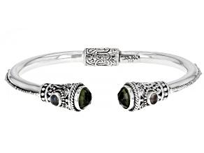 Green Moldavite Sterling Silver Bracelet