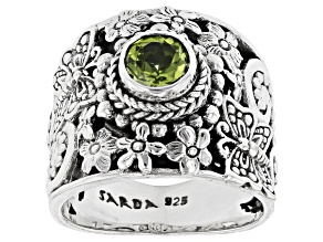 Green Peridot Sterling Silver Solitaire Ring .85ct