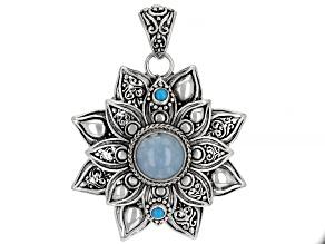 Blue Aquamarine Sterling Silver Pendant