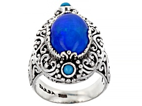 Paraiba Color Opal Sterling Silver Ring 2.55ct
