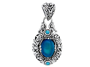 Paraiba Color Opal Sterling Silver Pendant 2.55ct