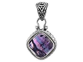 Purple Banded Fluorite Sterling Silver Pendant