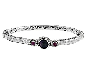 Black Onyx Triplet And Ruby Sterling Silver Bracelet