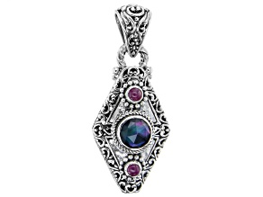 Black Onyx Triplet And Ruby Sterling Silver Pendant