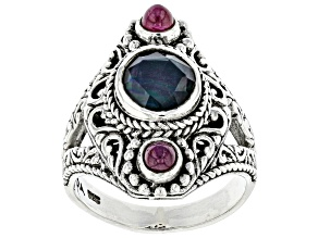 Black Onyx Triplet And Ruby Sterling Silver Ring