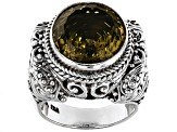 Olive Quartz Sterling Silver Ring 8.00ct
