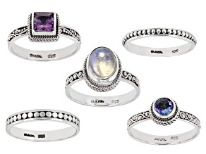 Rainbow Moonstone, Tanzanite And Amethyst Silver Ring Set .94ctw