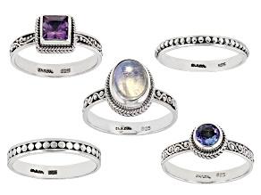 Rainbow Moonstone, Tanzanite And Amethyst Silver Ring Set .94ctw