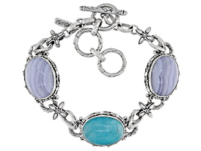 Blue Lace Agate And Amazonite Silver Bracelet
