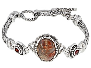 Brecciated Jasper And Garnet Silver Bracelet .44ctw