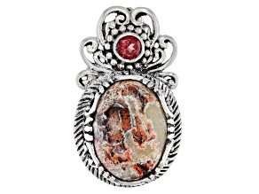 Brecciated Jasper And Garnet Silver Pendant .22ct