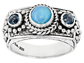 Paraiba Color Ethiopian Opal And Kyanite Silver Ring .90ctw
