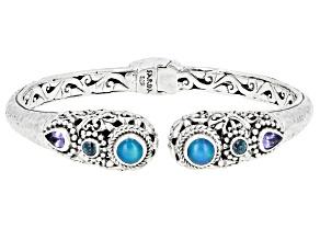 Paraiba Color Opal, Tanzanite & Kyanite Silver Bracelet  1.76ctw