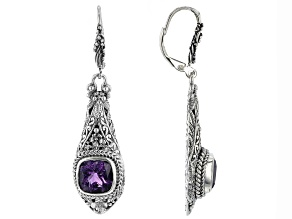 Purple Amethyst Sterling Silver Earrings 5.50ctw