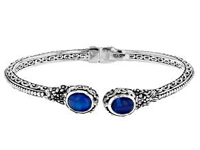 Paraiba Color Ethiopian Opal Silver Bracelet 2.98ctw