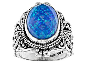 Lab Created Twilight Opal Doublet Silver Ring 8.16ct