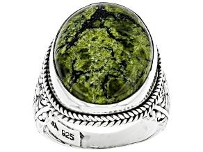 Green Serpentine Sterling Silver Ring