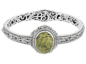 Green Serpentine Sterling Silver Bracelet