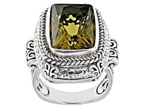 Green Olive Quartz Silver Ring 7.89ct