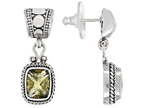 Green Olive Quartz Silver Earrings 2.90ctw