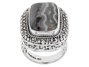 Multi-Color Crazy Lace Agate Silver Ring