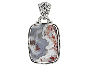 Red Crazy Lace Agate Silver Pendant