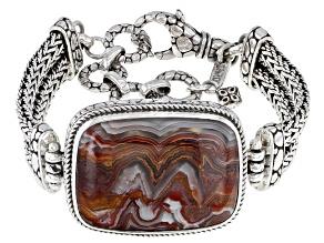 Crazy Lace Agate Silver Bracelet