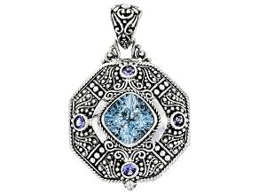 Blue Topaz And Tanzanite Silver Pendant 7.77ctw