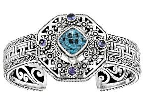 Blue Topaz And Tanzanite Silver Bracelet .88ctw