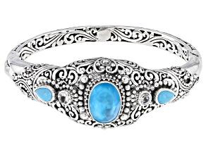 Paraiba Quartz Triplet, Turquoise & Topaz Silver Bracelet 6.32ctw