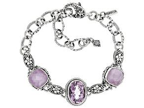 Pink Quartz Triplet And Pink Kunzite Silver Bracelet