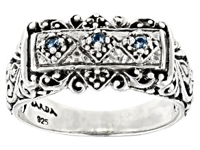 Blue Sapphire Sterling Silver Band Ring .03ctw