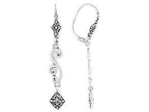 Blue Sapphire Sterling Silver Earrings .02ctw