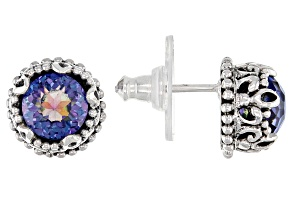 Blue Sea™ Quartz Silver Tree of Life Earrings 3.06ctw