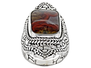 Red Seam Agate Sterling Silver Ring