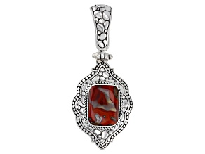 Red Seam Agate Sterling Silver Enhancer Pendant