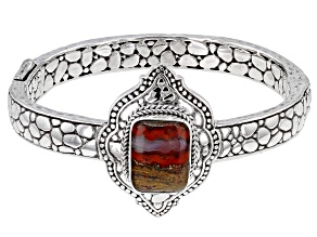 Red Seam Agate Sterling Silver Bracelet