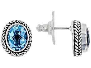 Swiss Blue Topaz Sterling Silver Earrings 3.92ctw