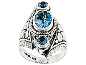 Blue Topaz Sterling Silver Ring 2.48ctw