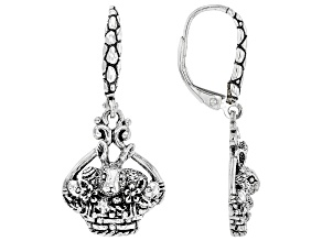 "Silver ""Blessed & Loved"" Easter Bunny Earrings"