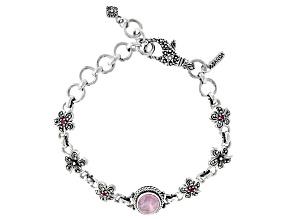 Pink Kunzite & Ruby Silver Frangipani Bracelet .04ctw