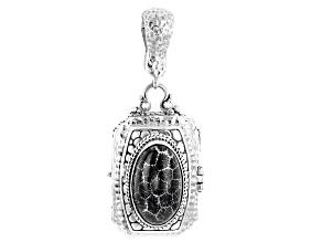 Black Indonesian Coral Silver Locket Enhancer Pendant